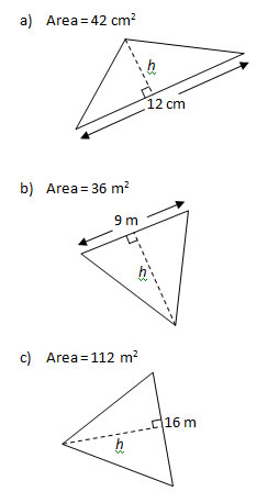 how to work out the area triangles