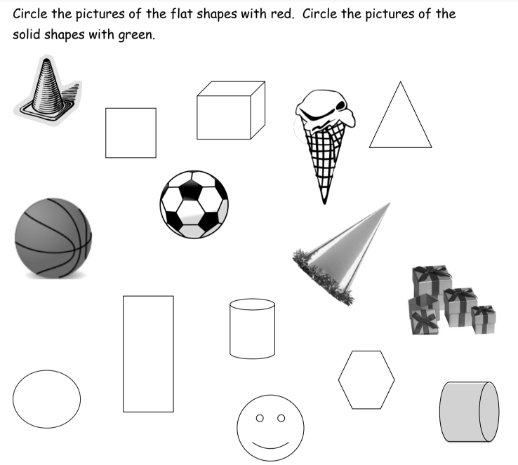 Printable Worksheets 2d & 3d shapes worksheets : 3-D Shapes (songs, videos, games, worksheets, activities)