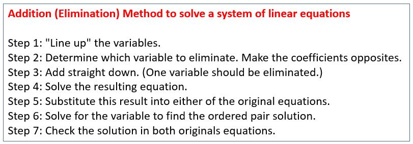 Addition Elimination Method System of Equations