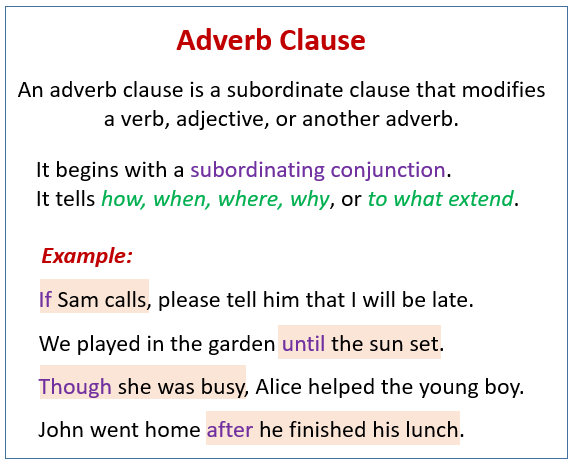 Adverb Clause Examples Videos