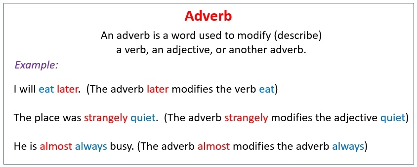 Introduction to adverbs: words that modify verbs, video and examples.