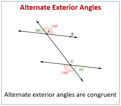 Alternate exterior angles examples solutions worksheets - Define exterior angle of a polygon ...