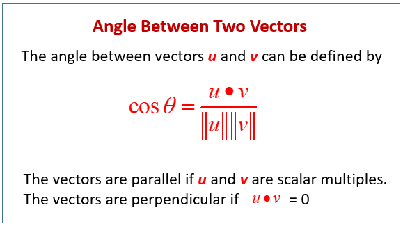 Angle between Two Vectors (examples, solutions, videos, worksheets