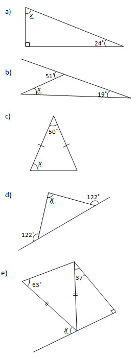 Angles in a Triangle Worksheets and Solutions