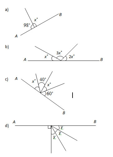 Angles in a Straight Line Worksheets and Solutions