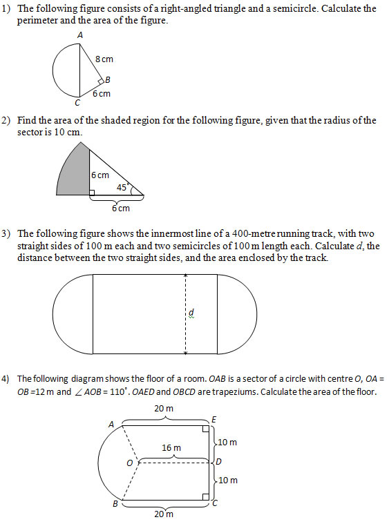 Worksheets Find The Area Of The Shaded Region Worksheet With Answers area of figures that include circles part 2 worksheets and circle answers
