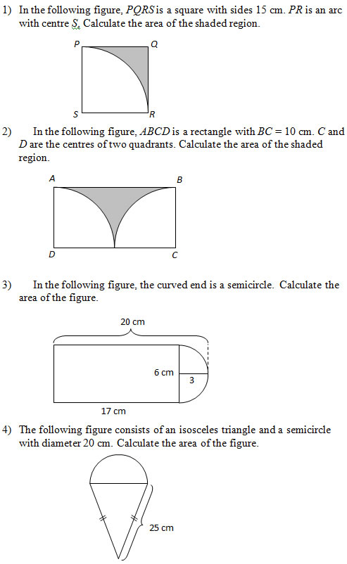 Worksheets Area Of Shaded Region Worksheet area of figures that include circles worksheets and solutions circles