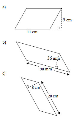 Area of Parallelograms (Worksheets, Solutions, Examples)