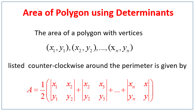 Area Polygon using Determinants