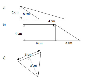 Area Of Shapes Rectangles And Triangles Worksheets