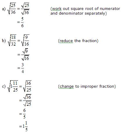 Simplify Squares Roots (Radicals) that have Fractions (solutions ...