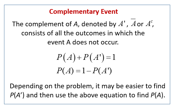 Complementary Events (solutions, examples, videos)