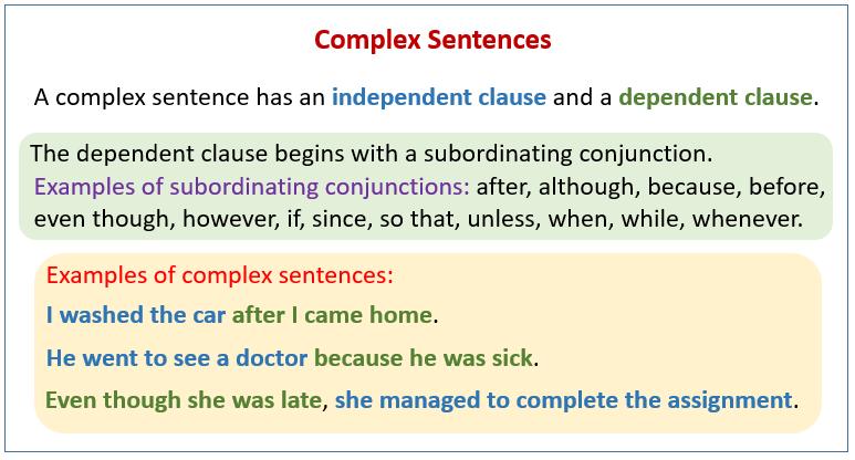 complex sentences (examples, explanations, videos)