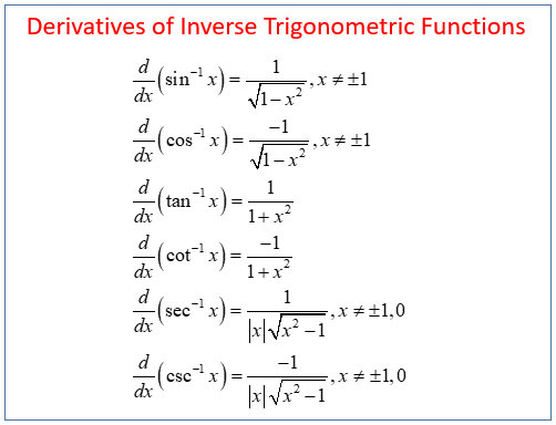 Calculus Inverse Trig Derivatives Solutions Examples Videos