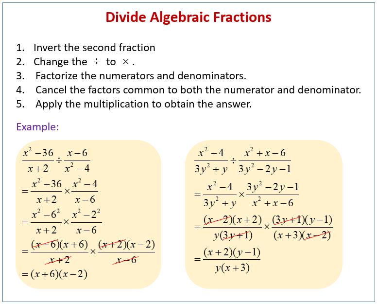 Divide Algebraic Fractions