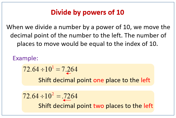Dividing Decimals by Powers of 10 (solutions, examples ...