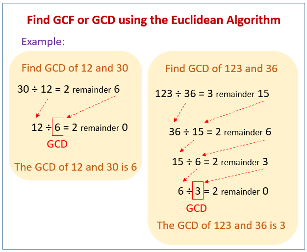 find gcf or gcd using the euclidean algorithm solutions