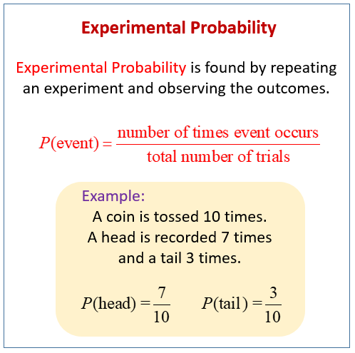 Experimental Probability (solutions, examples, videos, worksheets ...