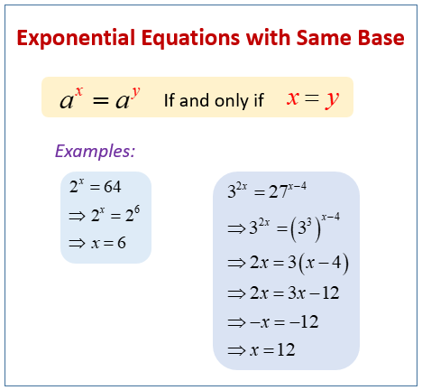 Exponential Equations same base