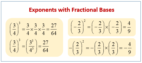 Exponents with Fractional Bases