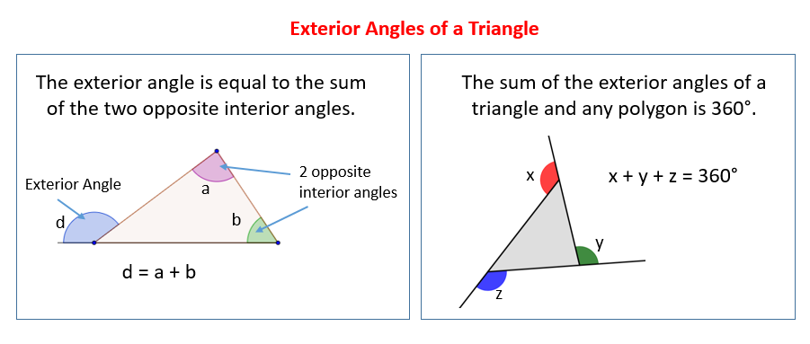 Exterior angles of a triangle solutions examples videos for Exterior of an angle definition