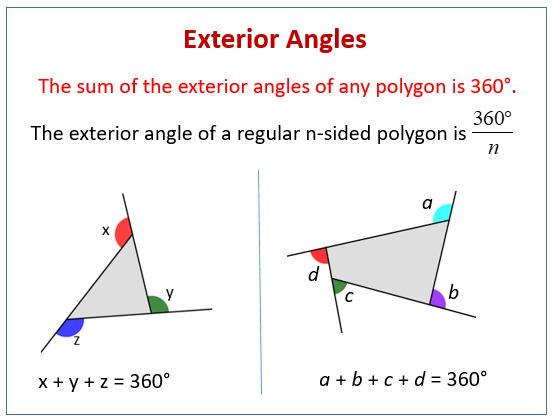 Exterior angles of polygons examples solutions videos - Sum of exterior angles of polygon ...