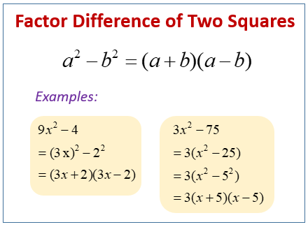 Factor Difference of Squares