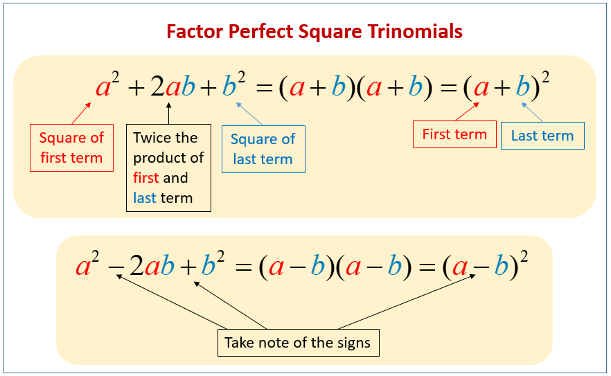 Factor Perfect Square Trinomials