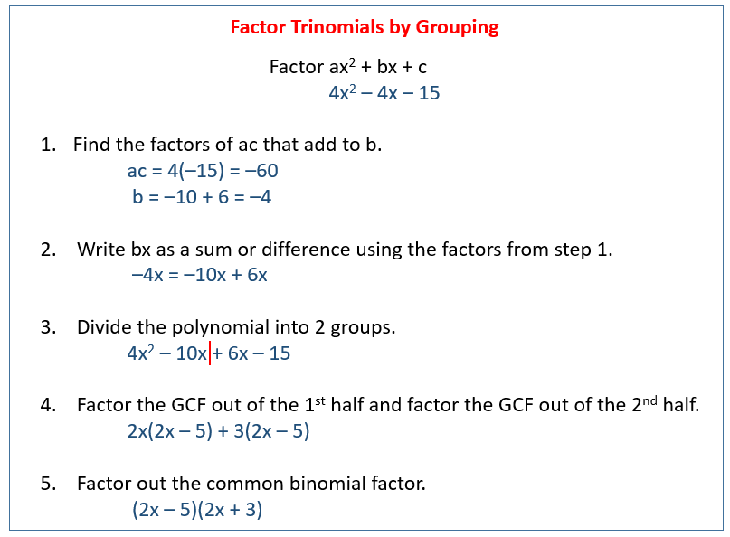 Factoring By Grouping Solutions Examples Videos
