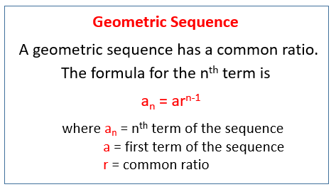 geometric sequences examples solutions worksheets