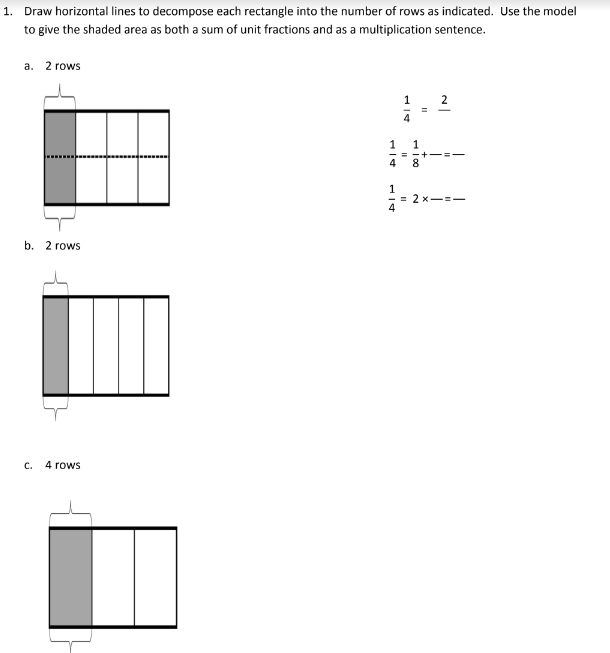 Decompose Unit Fractions using Area Models (solutions