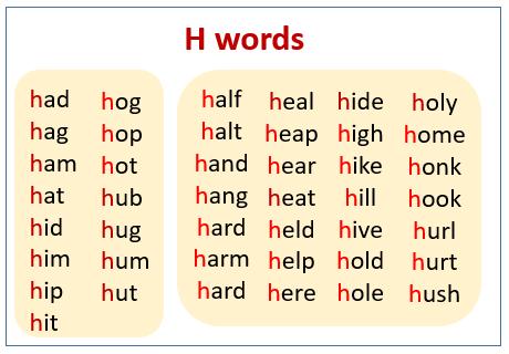 H sound words