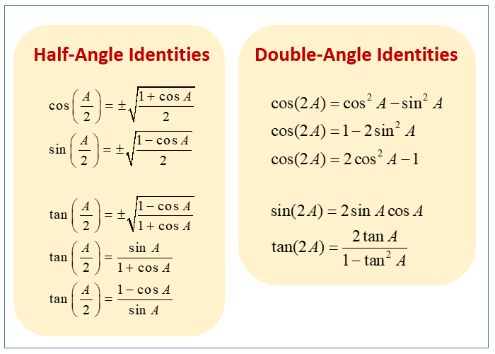 Half Angle or Double Angle Examples (examples, solutions ...