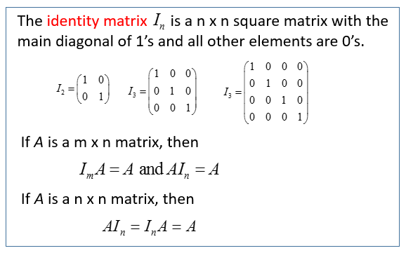 Zero Identity And Inverse Matrices Solutions Examples