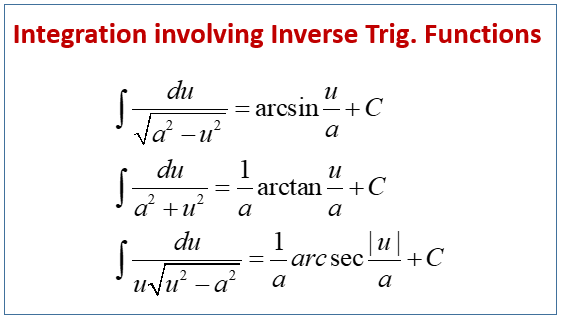 Integration Using Inverse Trigonometric Functions (examples ...