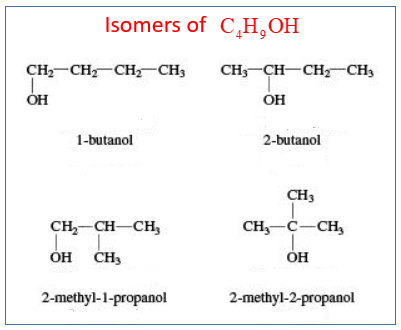 Isomers of C4H9OH