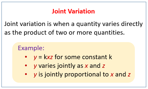 Joint or Combined Variation (solutions, examples, videos, worksheets ...