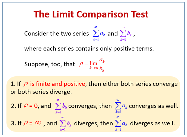 The Limit Comparison Test (examples, solutions, videos)