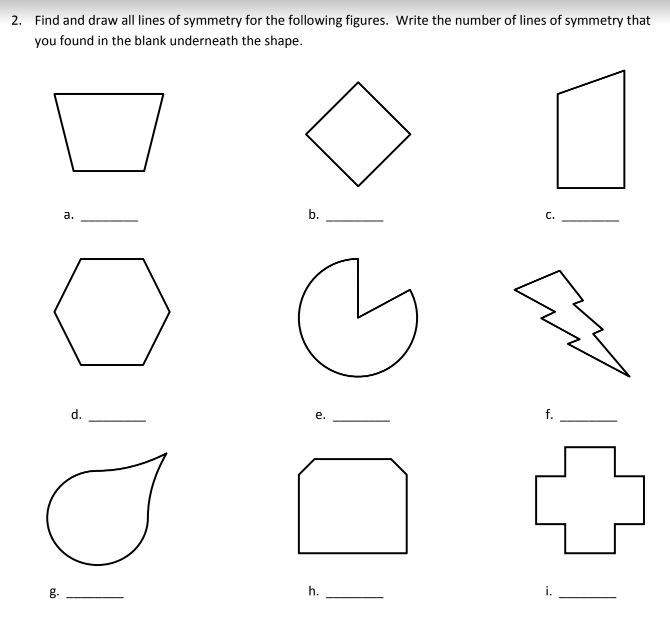 Lines Symmetry Worksheets