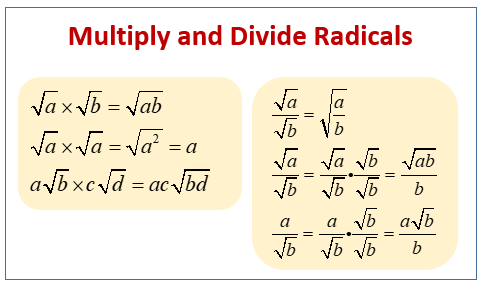 Multiply, Divide Radicals