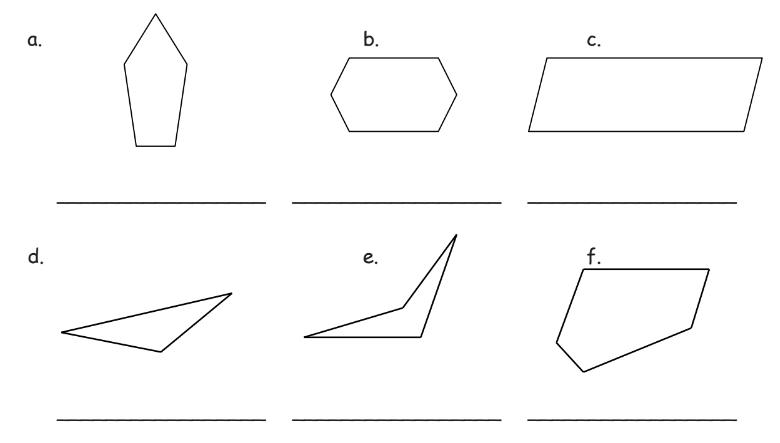 Worksheet for polygon names