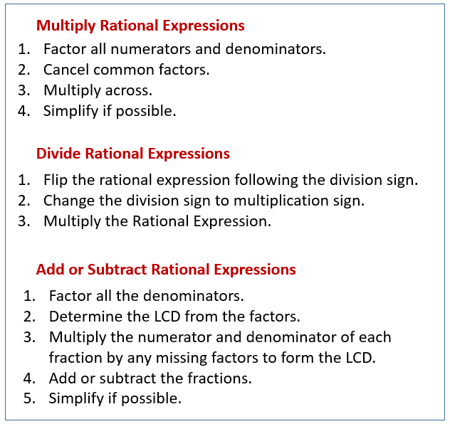 Multiply, Divide, Add, Subtract Rational Expressions (solutions, Examples,  Videos, Activities)