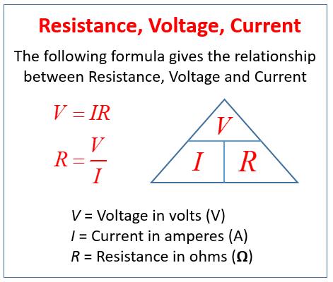 Resistance Voltage Current Formula