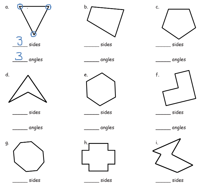 Worksheet for shapes, sides, and angles