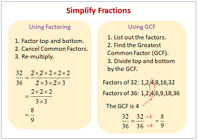 Simplify Fractions