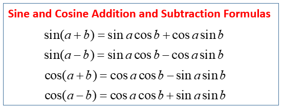 sine and cosine addition and subtraction formulas