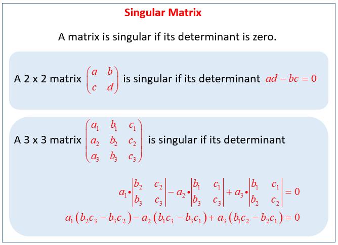 Singular Matrix solutions examples solutions videos – Matrices Worksheet