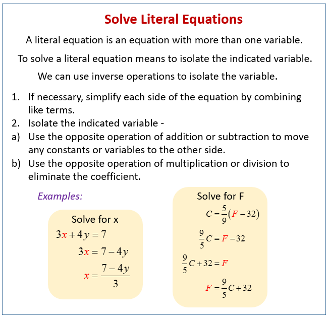 Solve Literal Equations