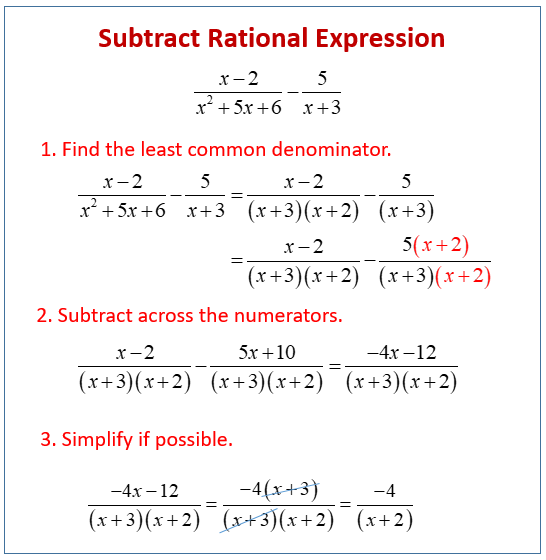 Subtract Rational Expression