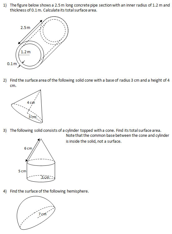 Find the surface area of solids (IV)(Worksheets and Solutions)